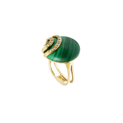 Vintage Gold White Diamond & Malachite Ring for Broken English Jewelry