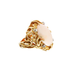 Vintage Gold White Diamond & Oval Pink Coral Ring for Broken English Jewelry