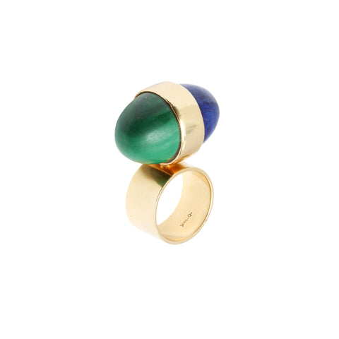 Gold Malachite and Lapis Lazuli Egg Ring for Broken English Jewelry