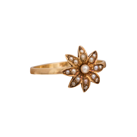 Pearl Flower Cluster Ring by Vintage Jewelry for Broken English Jewelry