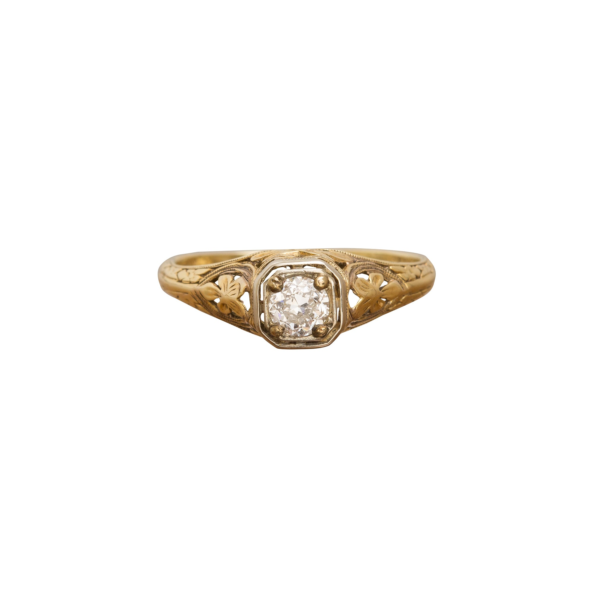 Hand-Carved Diamond Ring by Vintage Jewelry for Broken English Jewelry