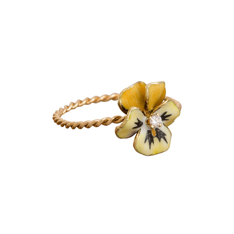 Petite Yellow Pansy Ring by Vintage Jewelry for Broken English Jewelry