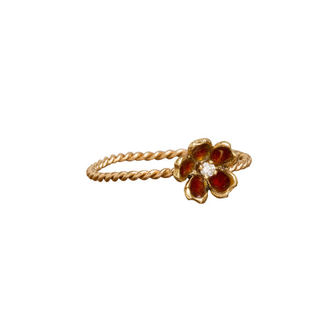 Red Enamel Flower Ring by Vintage Jewelry for Broken English Jewelry