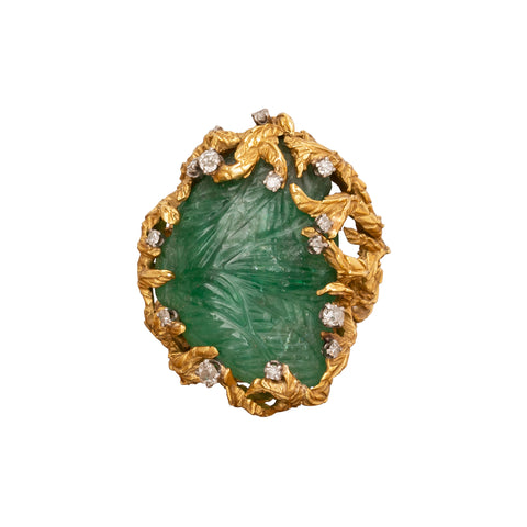Carved Emerald Ring - Antique & Vintage Jewelry - Rings | Broken English Jewelry