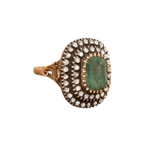 Diamond & Emerald Ring - Antique & Vintage Jewelry - Rings | Broken English Jewelry