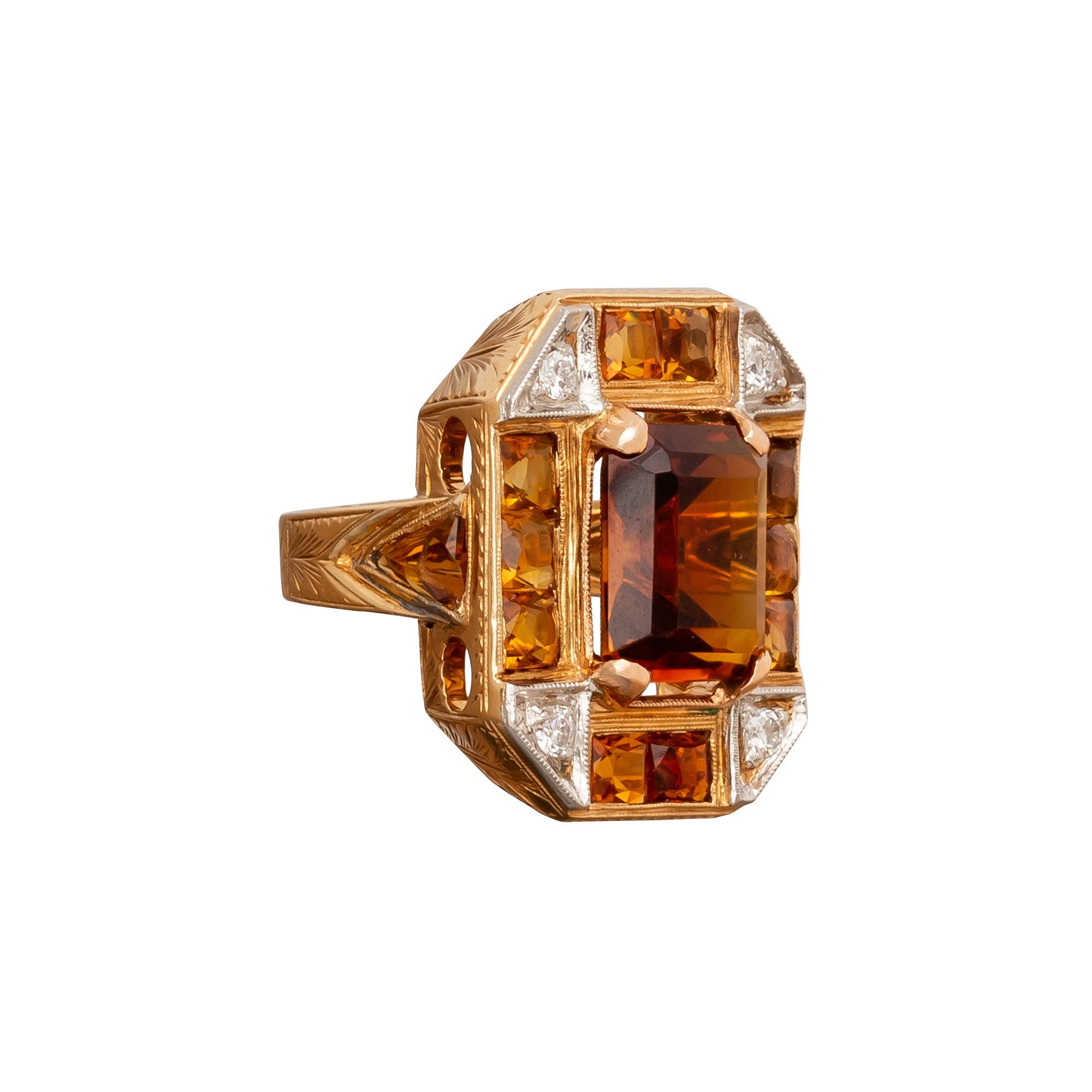 Topaz & Diamond Retro Ring - Antique & Vintage Jewelry - Rings | Broken English Jewelry