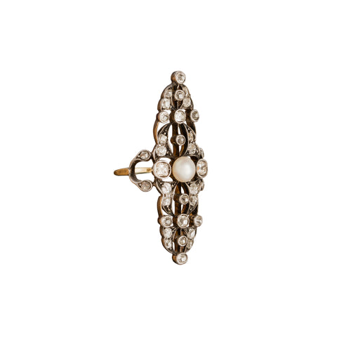 Victorian Navette Pearl & Diamond Ring - Antique & Vintage Jewelry - Rings | Broken English Jewelry