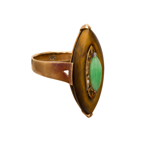 Tiger Eye Jade Ring - Broken English Jewelry
