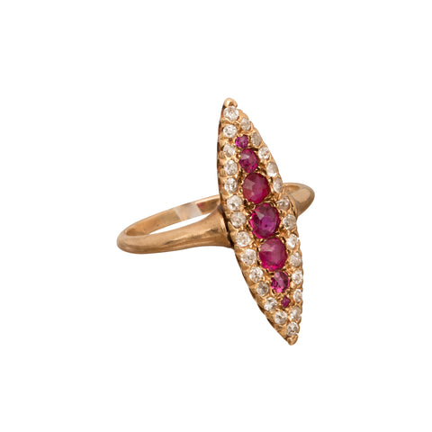Diamond & Ruby Navette Ring - Broken English Jewelry