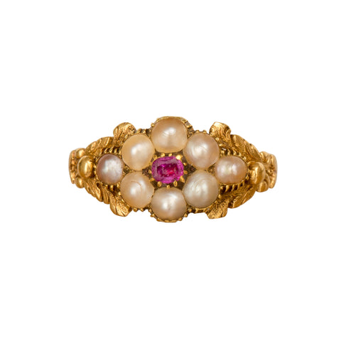 Pearl & Ruby Ring - Broken English Jewelry