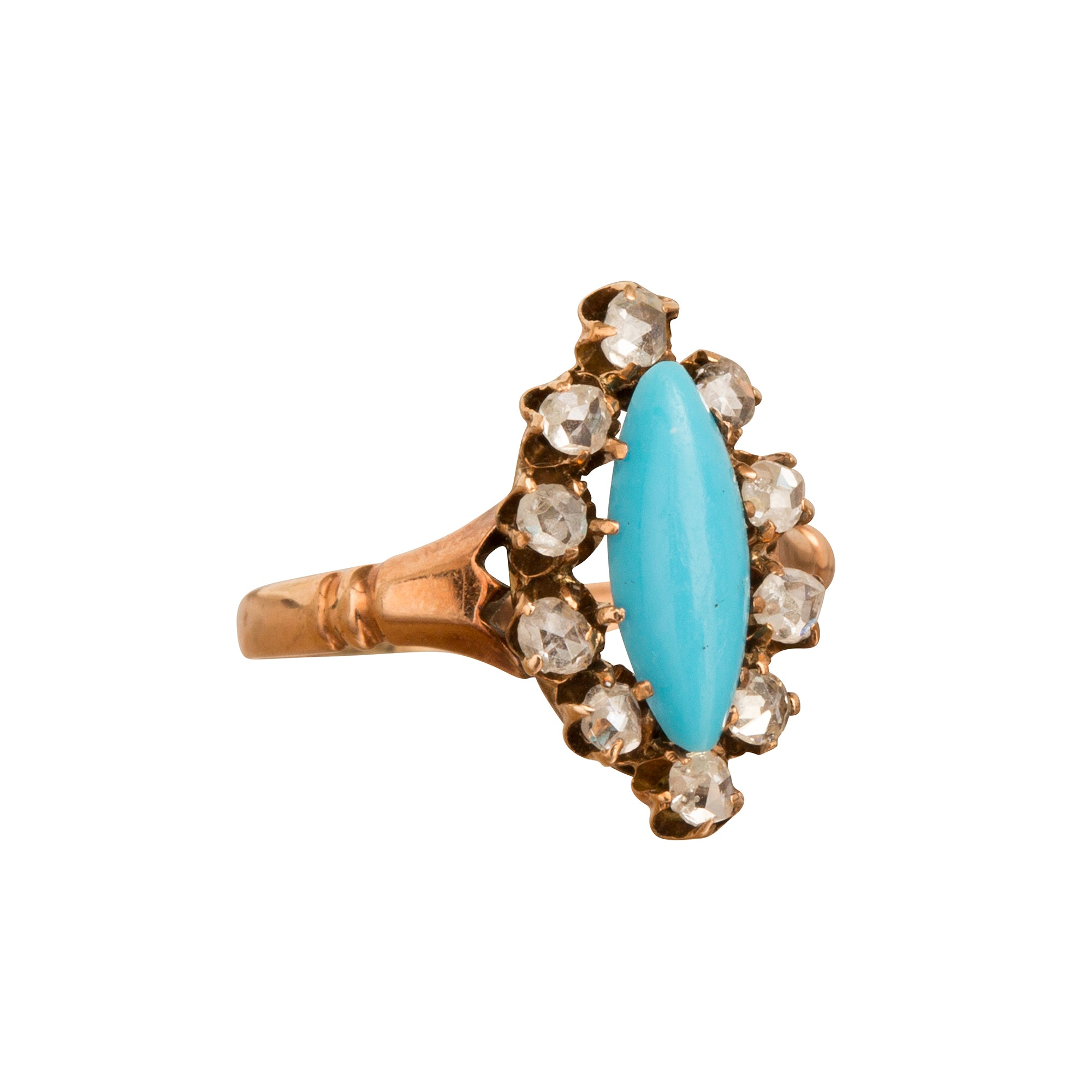 Turquoise & Diamond Navette Ring - Broken English Jewelry