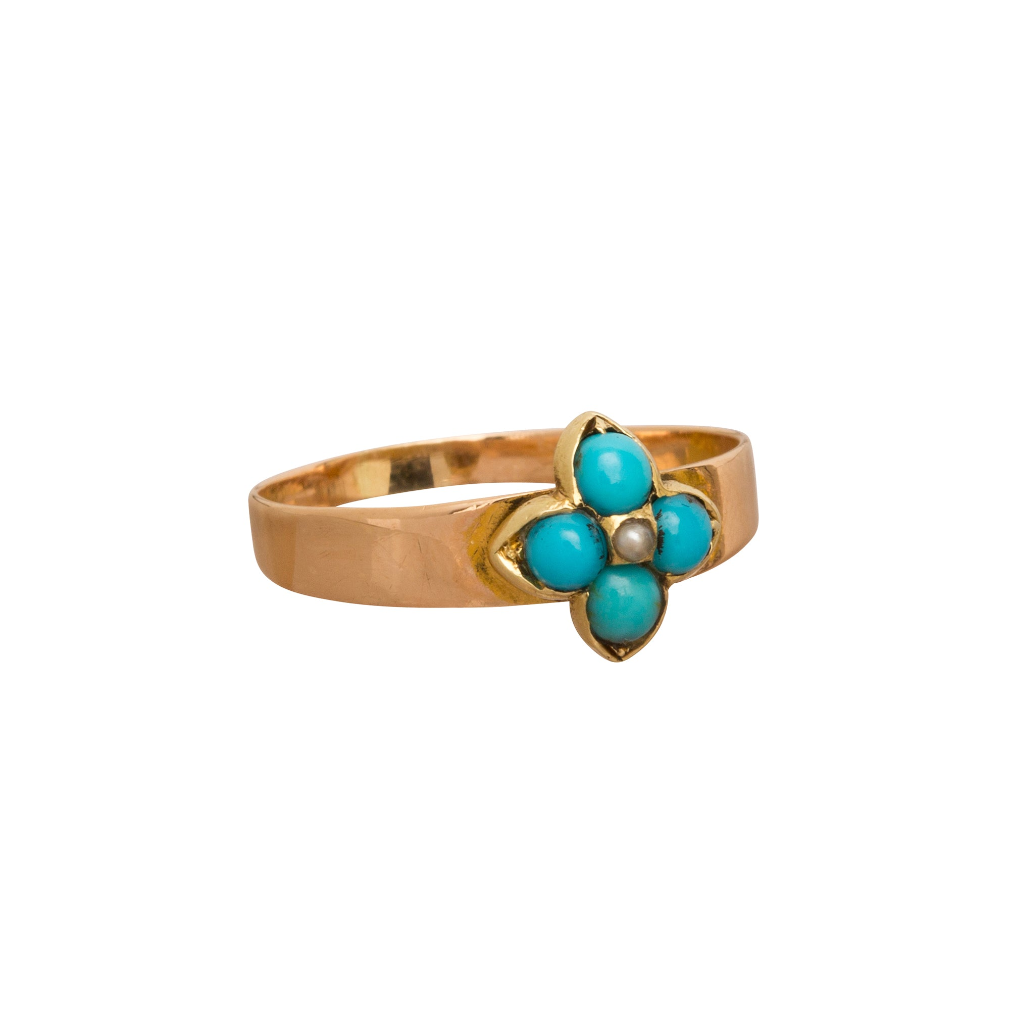 Turquoise & Pearl Ring - Broken English Jewelry