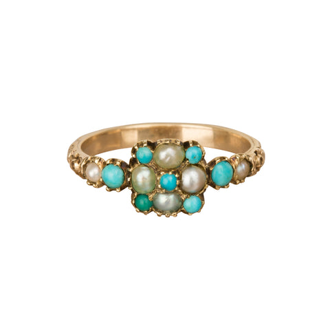 Turquoise & Pearl Cluster - Broken English Jewelry