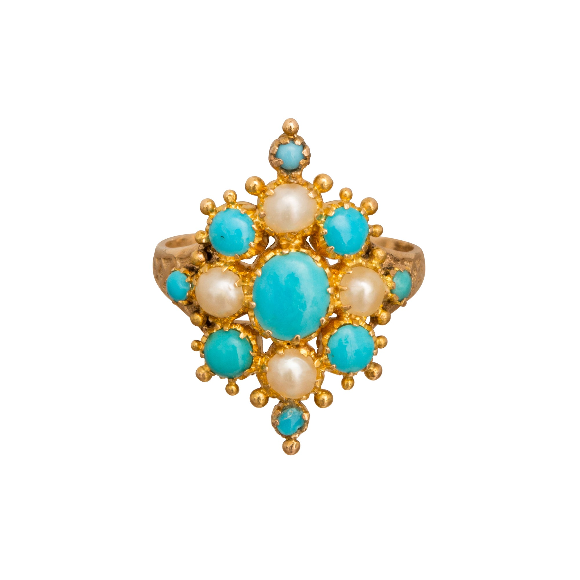 Turquoise & Pearl Marquise Cluster - Broken English Jewelry