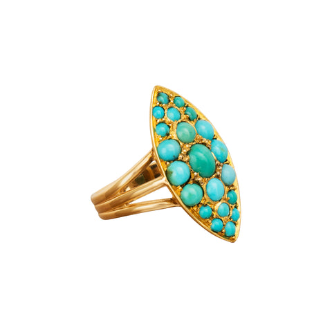 Turquoise Navette Ring - Broken English Jewelry