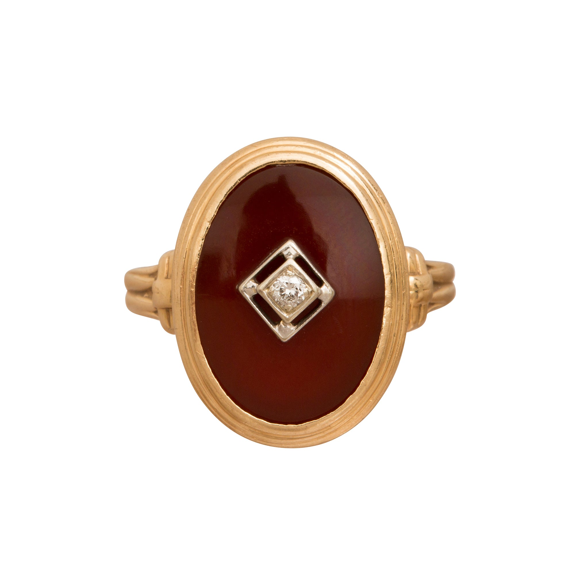 Carnelian & Diamond Oval Ring - Broken English Jewelry