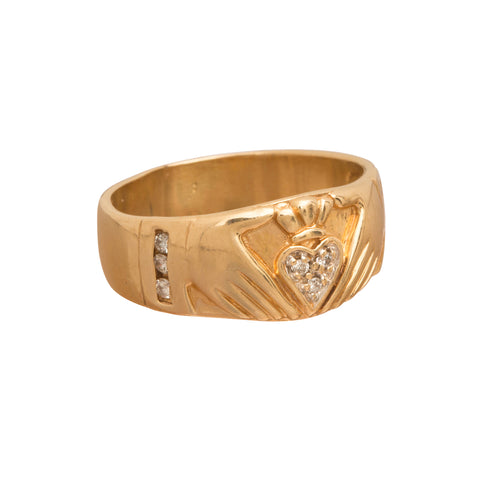 Diamond Claddagh Ring - Broken English Jewelry