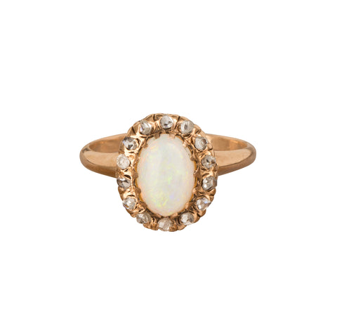 Opal & Diamond Cluster Ring - Broken English Jewelry