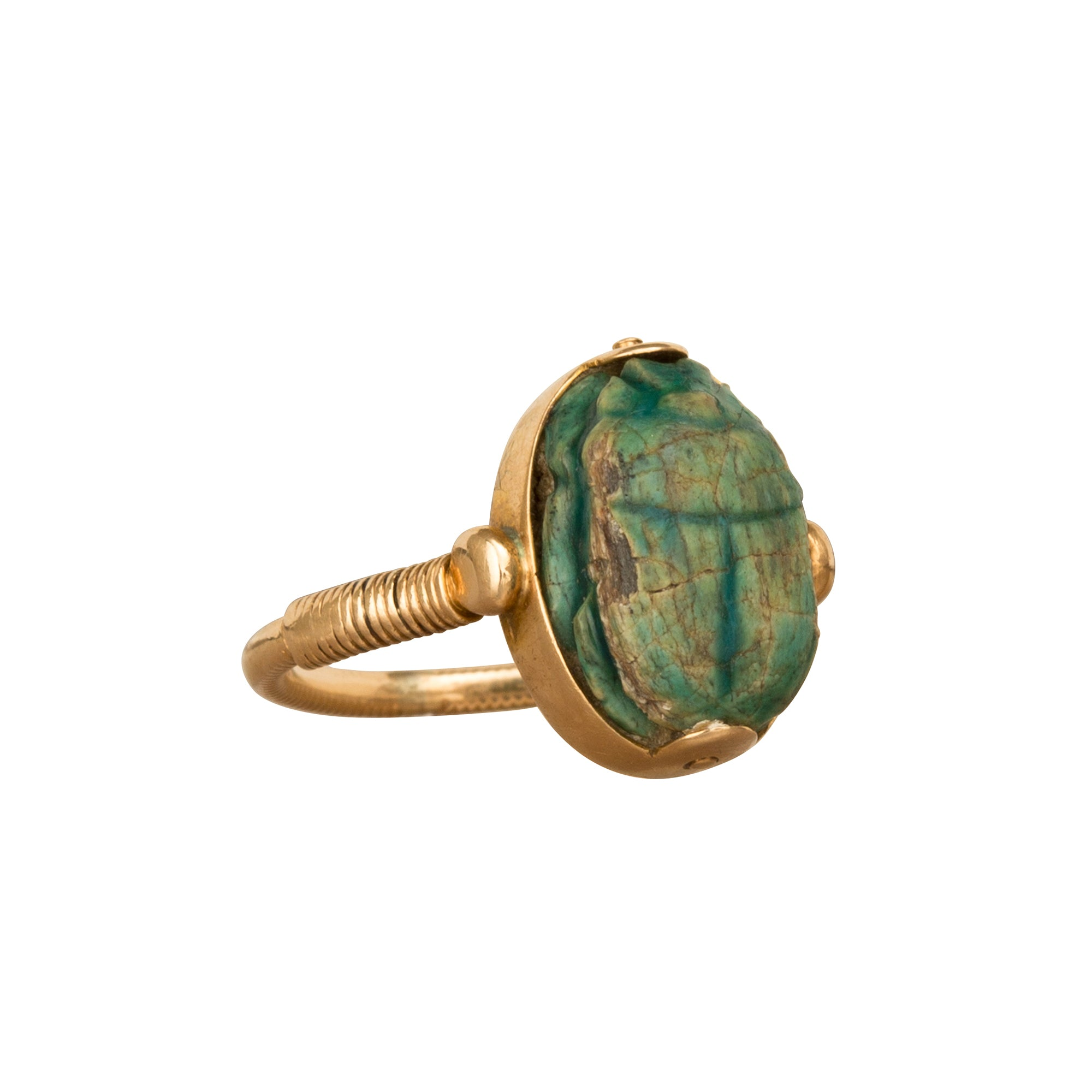 Faience Scarab Ring - Broken English Jewelry