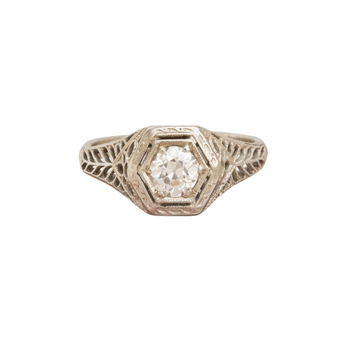 Hexagonal Diamond Ring - Vintage Jewelry - Ring | Broken English Jewelry