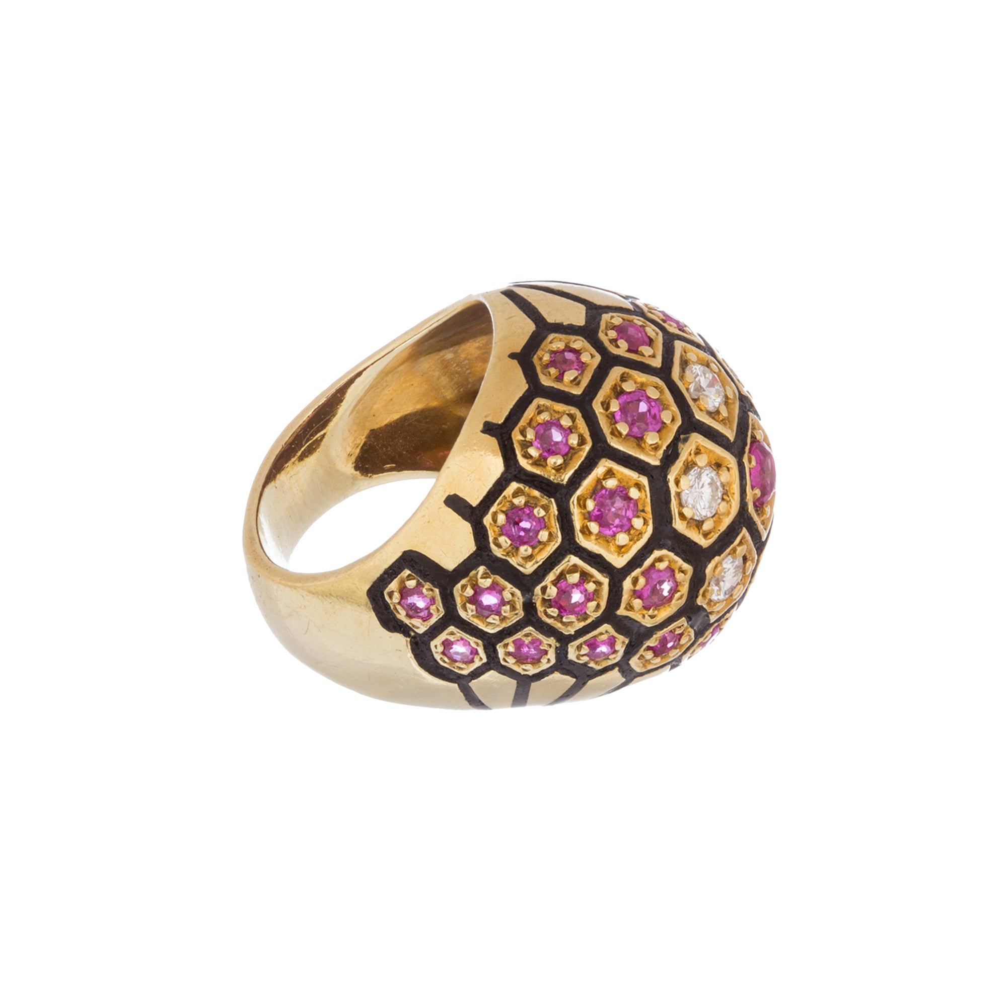 Vinrage Gold Ruby White Diamond Domed Enamel Ring for Broken English Jewelry