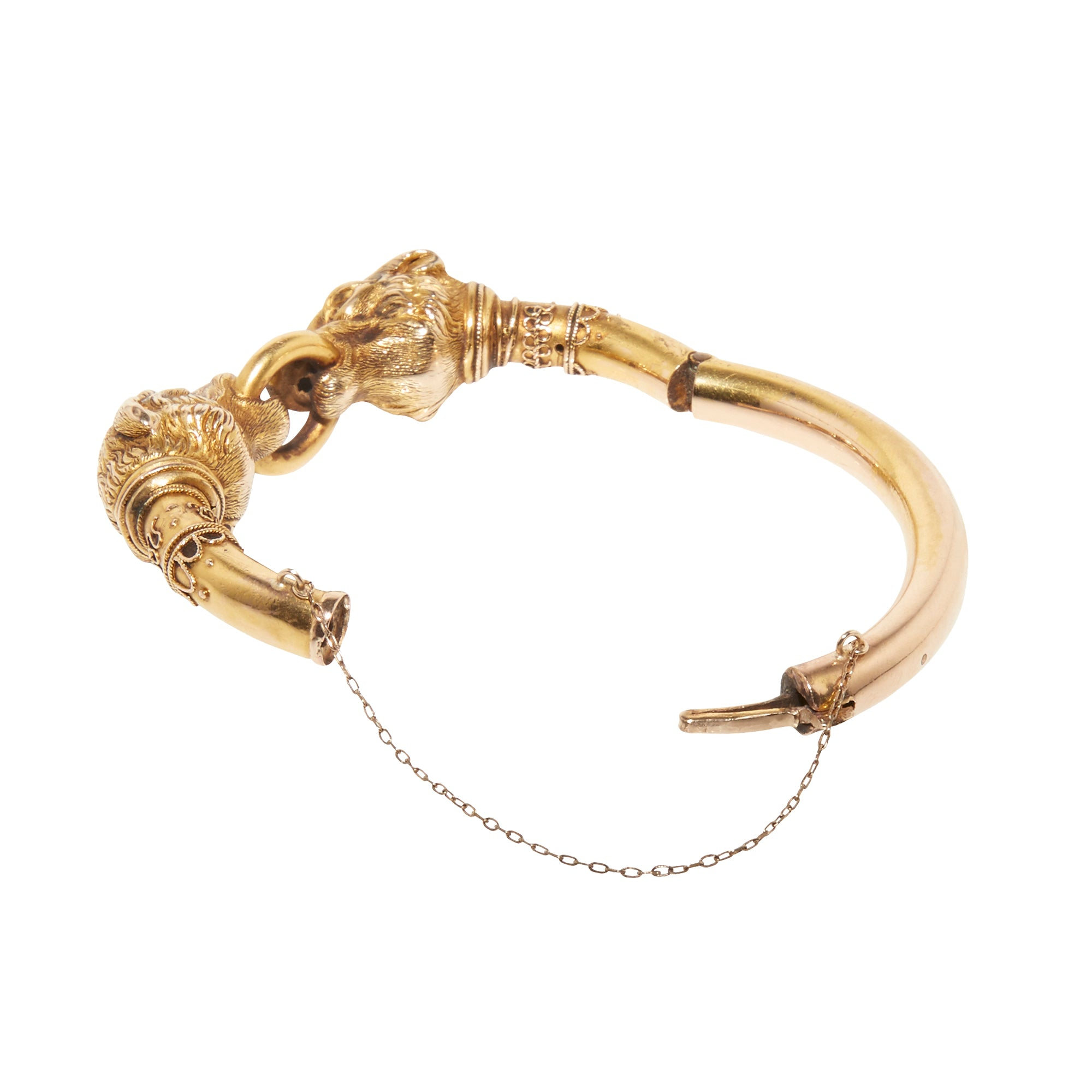 Vintage Gold Hound Head Bracelet for Broken English Jewelry