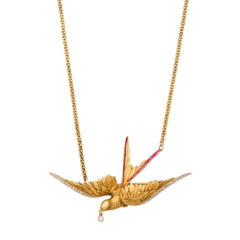 Large Swallow Brooch Necklace - Broken English Jewelry