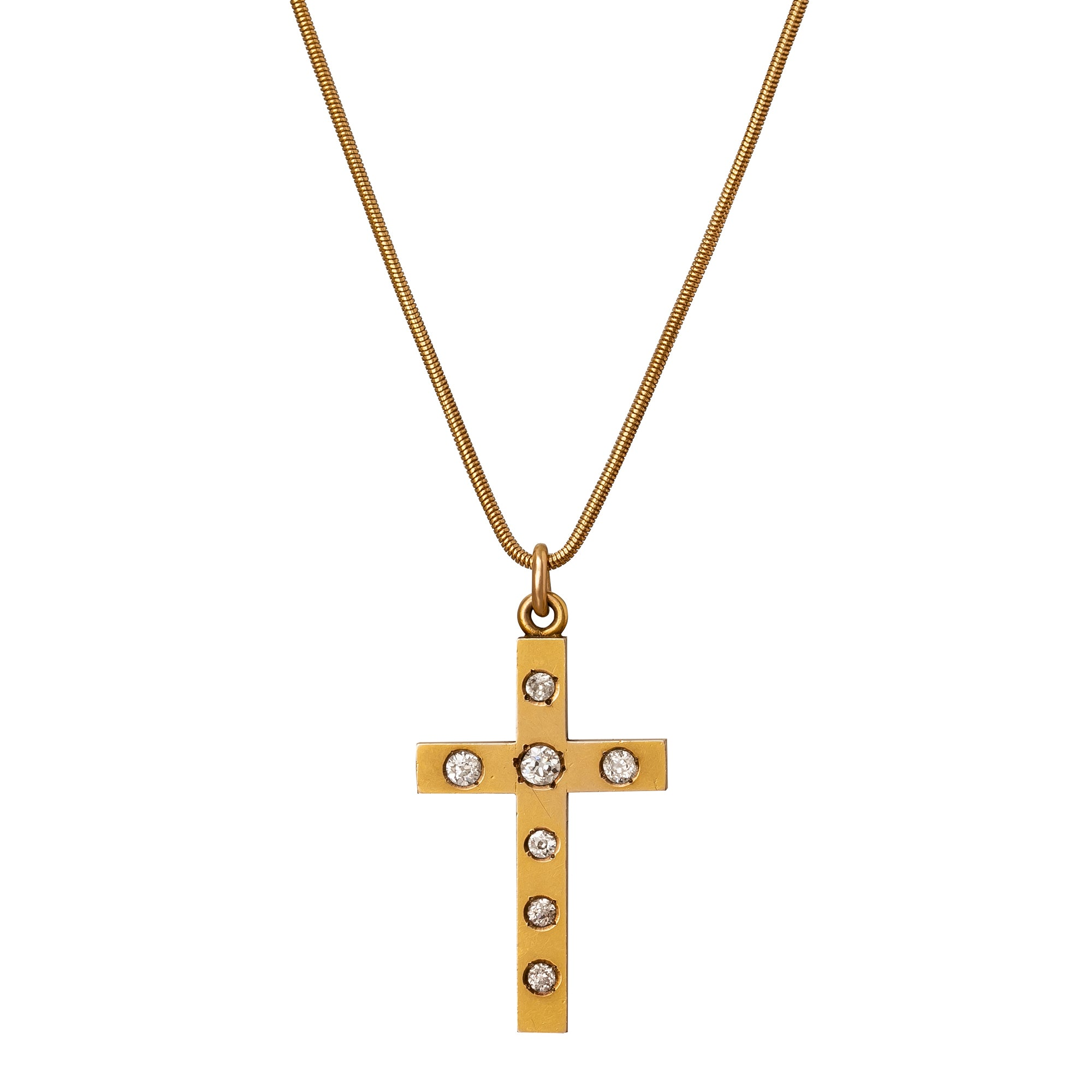 Gold & Diamond Cross Necklace - Antique & Vintage Jewelry - Necklaces | Broken English Jewelry