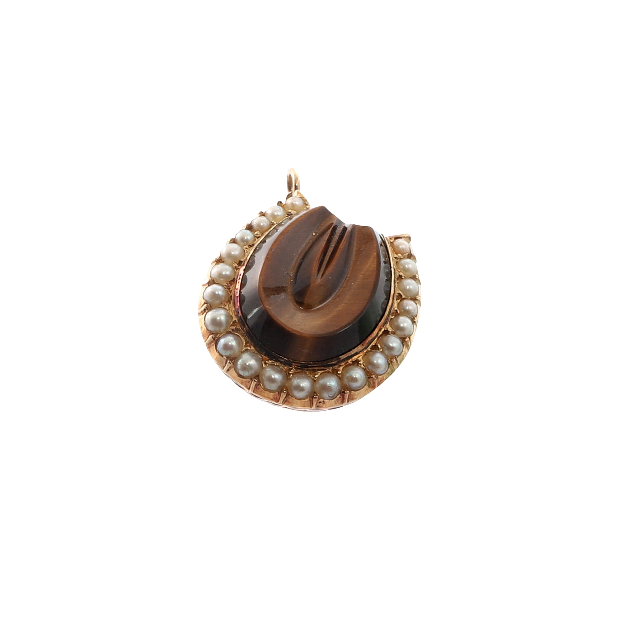 Gold Pearl Tiger Eye Horseshoe Charm for Broken English Jewelry