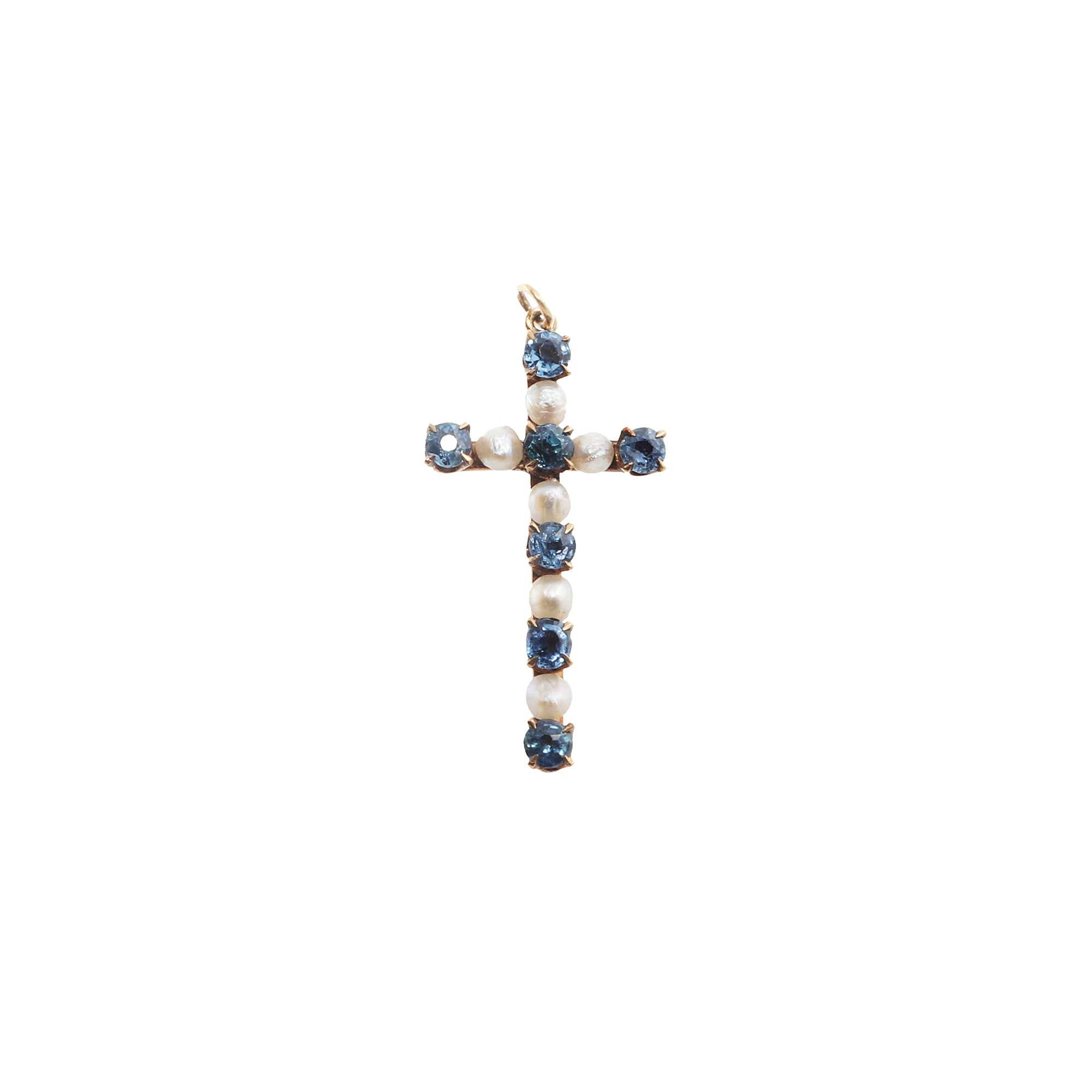 Gold Pearl & Sapphire Pearl Cross for Broken English Jewelry