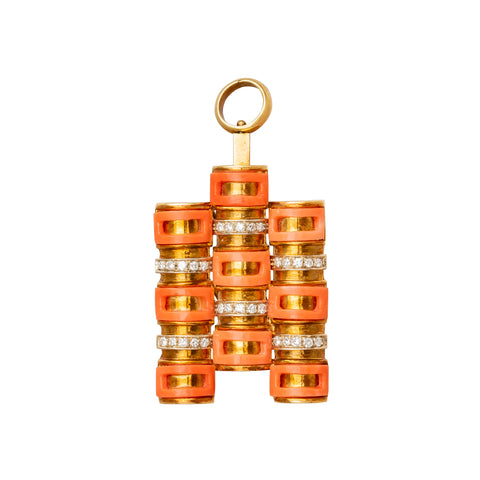 Coral Convertible Clip Pendant - Antique & Vintage Jewelry - Charms & Pendants | Broken English Jewelry
