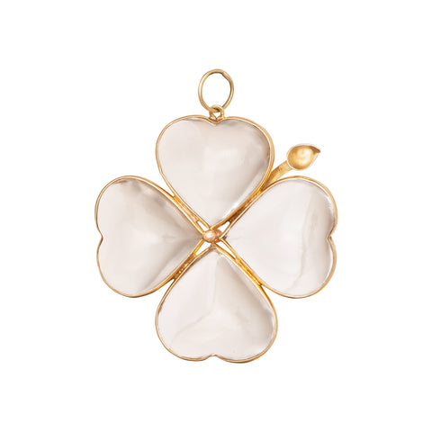 Crystal Clover Pendant - Antique & Vintage Jewelry - Charms & Pendants | Broken English Jewelry