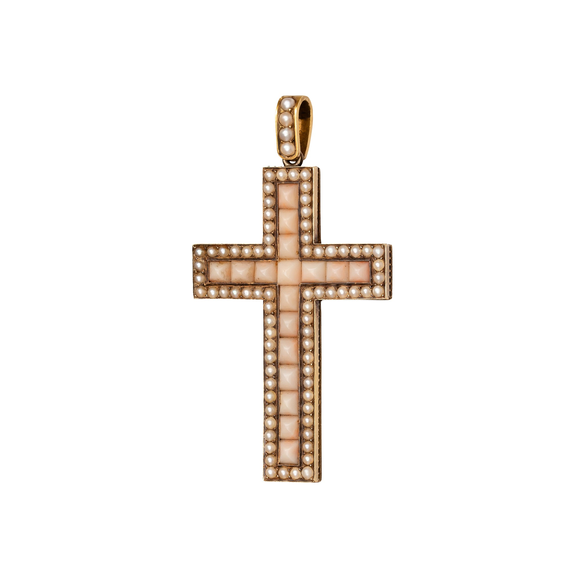Victorian Coral & Pearl Cross - Antique & Vintage Jewelry - Charms & Pendants | Broken English Jewelry