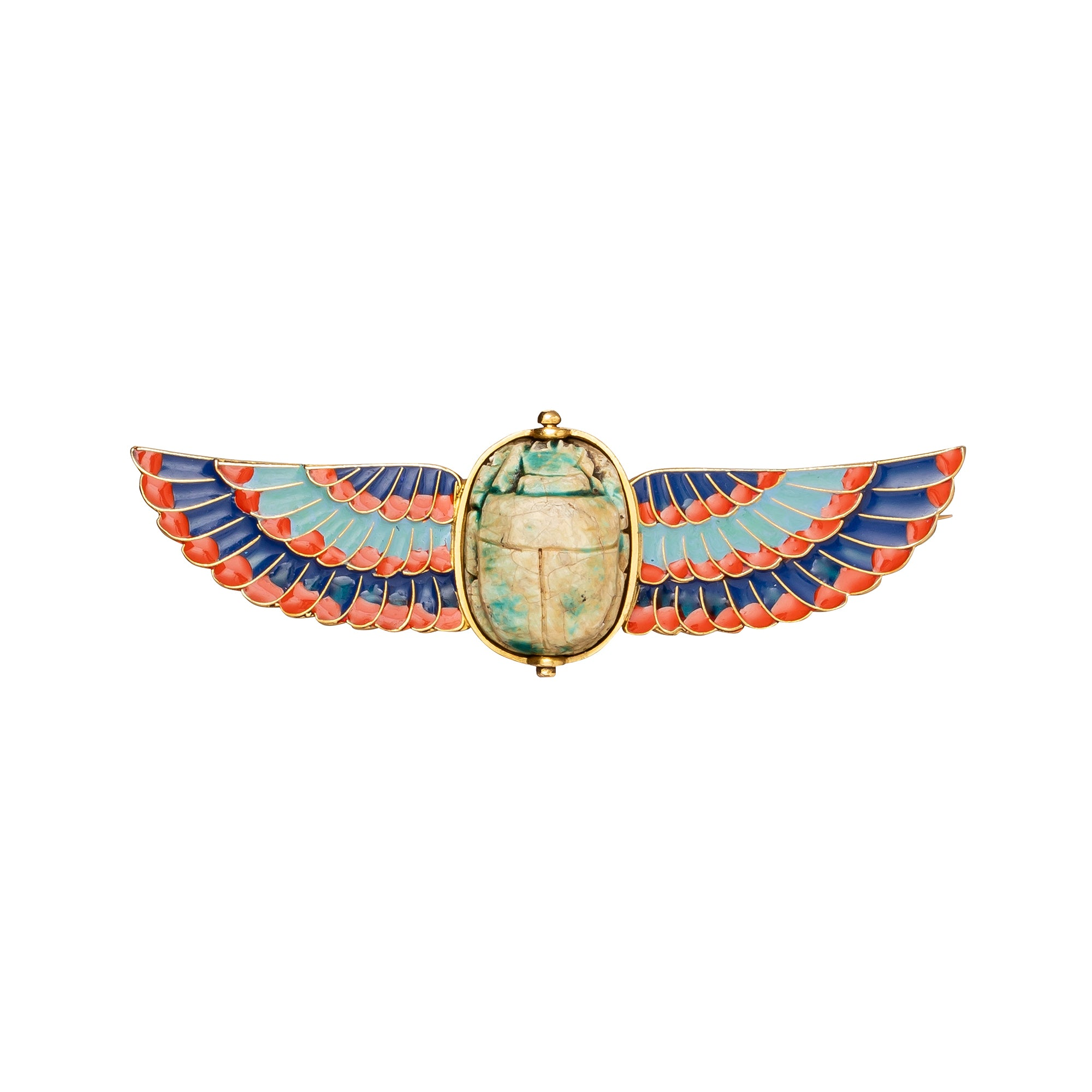Enamel Winged Scarab Brooch - Antique & Vintage Jewelry - Charms & Pendants | Broken English Jewelry