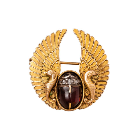 Full Winged Scarab Brooch - Antique & Vintage Jewelry - Charms & Pendants | Broken English Jewelry