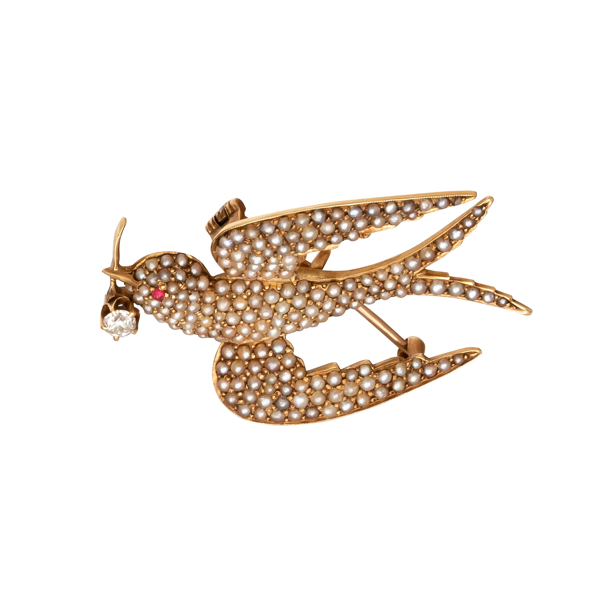 Victorian Swallow Brooch - Antique & Vintage Jewelry - Charms & Pendants | Broken English Jewelry