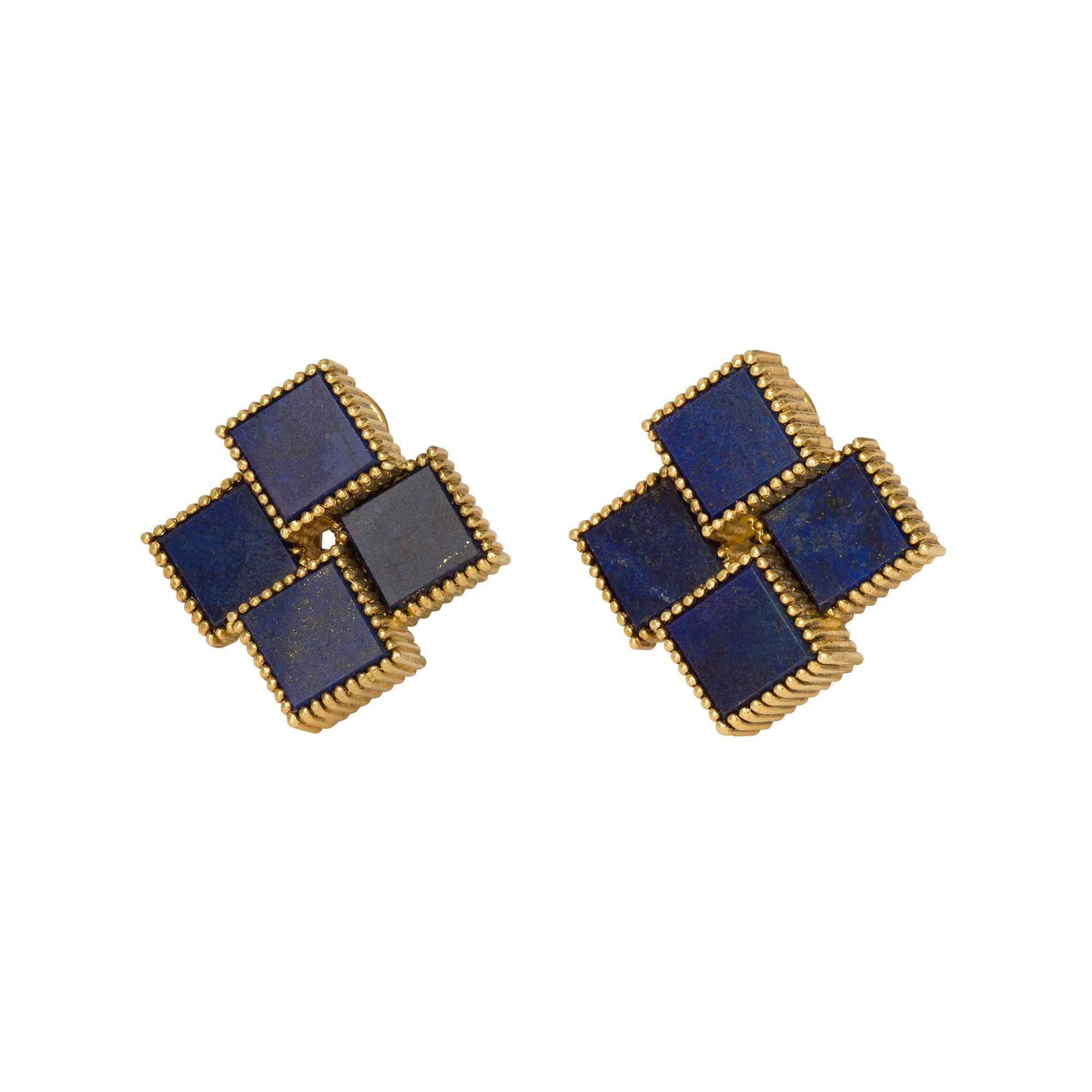 Lapis Cube Earrings from Broken English Jewelry