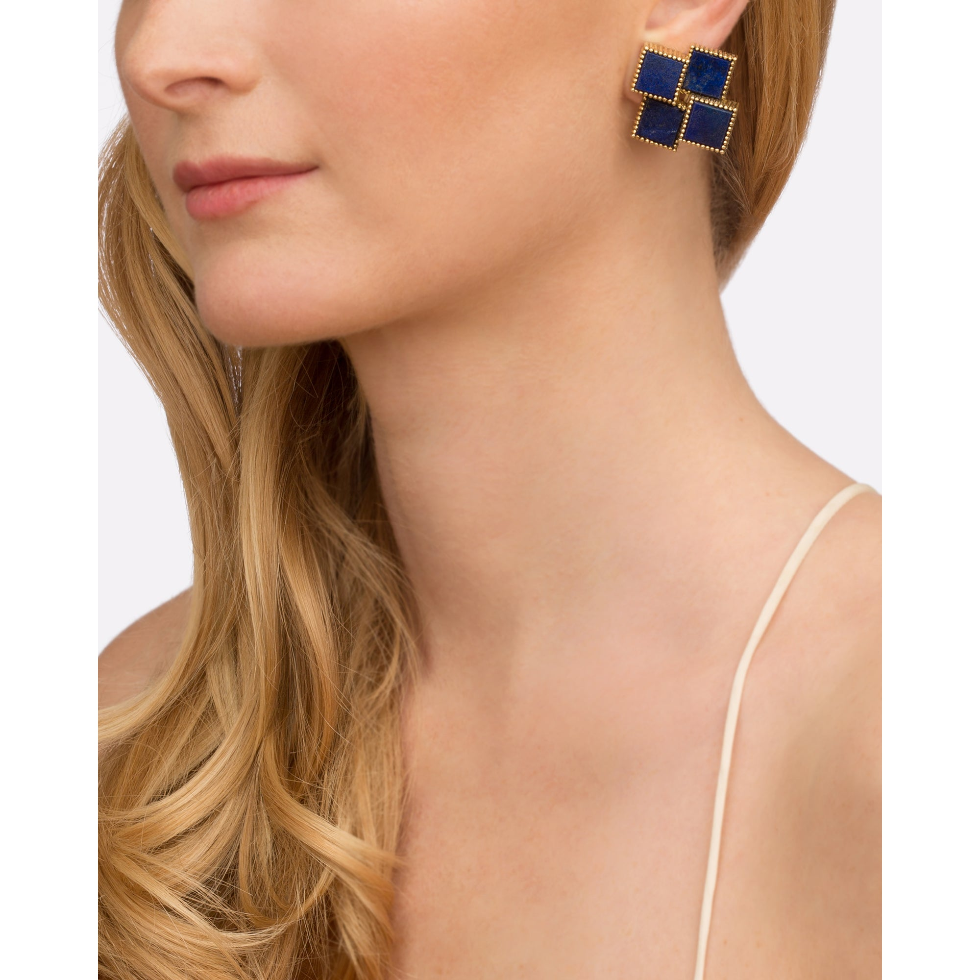 Lapis Cube Earrings