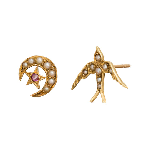 Crescent Moon & Star Earrings by Vintage Jewelry for Broken English Jewelry