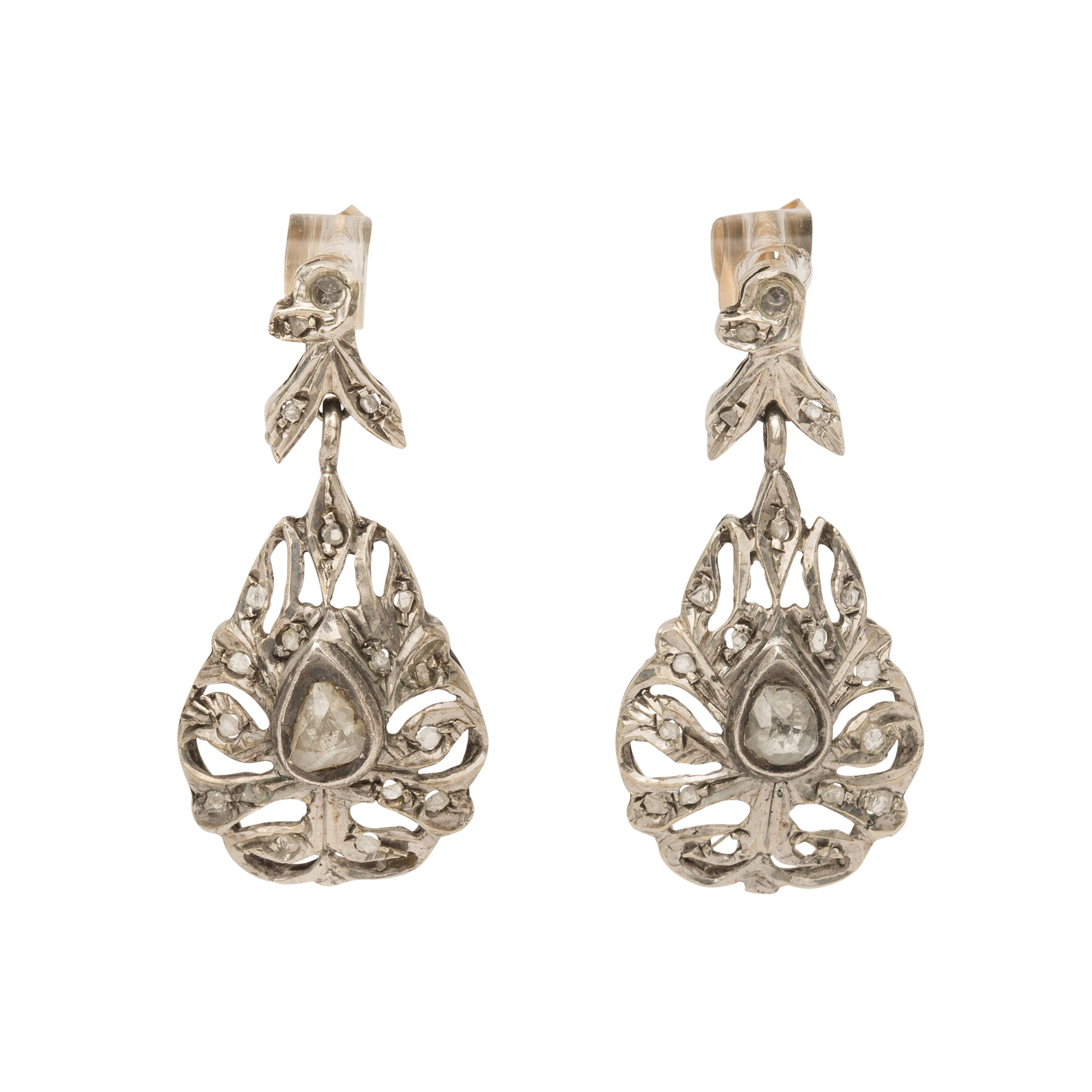 Silver Rose Cut Diamond Earrings from Broken English Jewelry