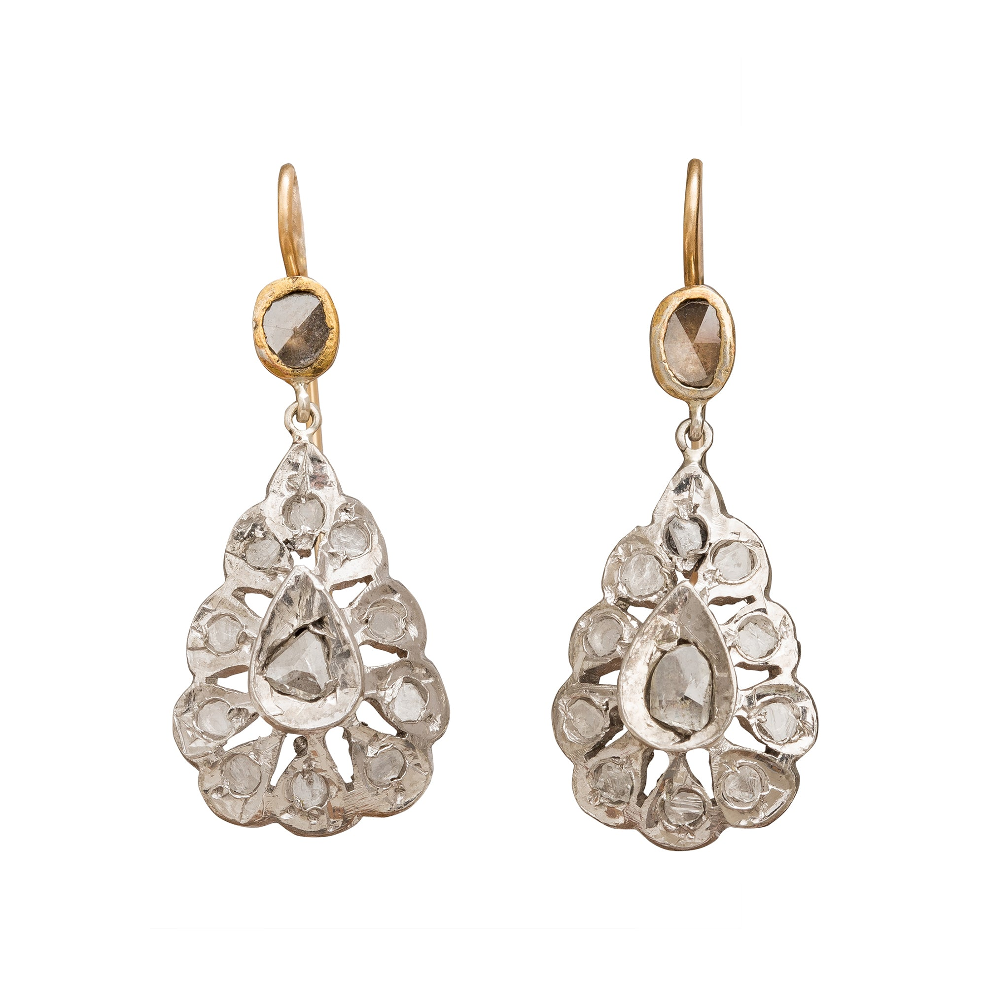 Silver Rose-Cut Diamond Drop Earrings by Vintage Jewelry for Broken English Jewelry