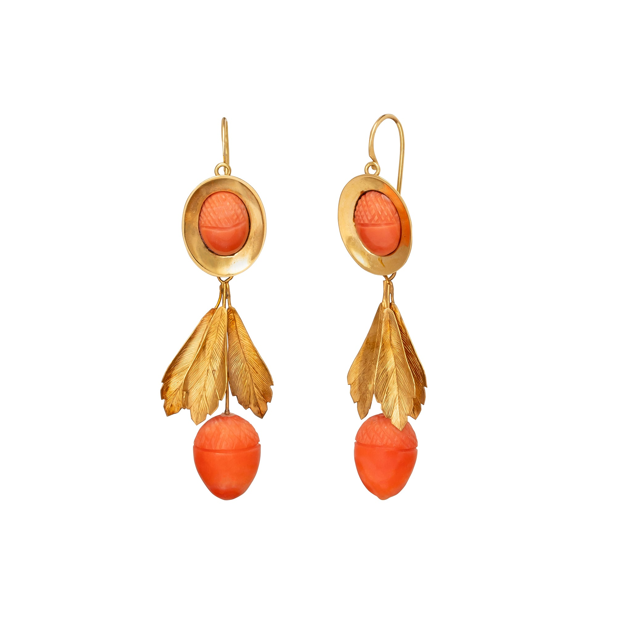 Coral Acorn Earrings - Antique & Vintage Jewelry - Earrings | Broken English Jewelry