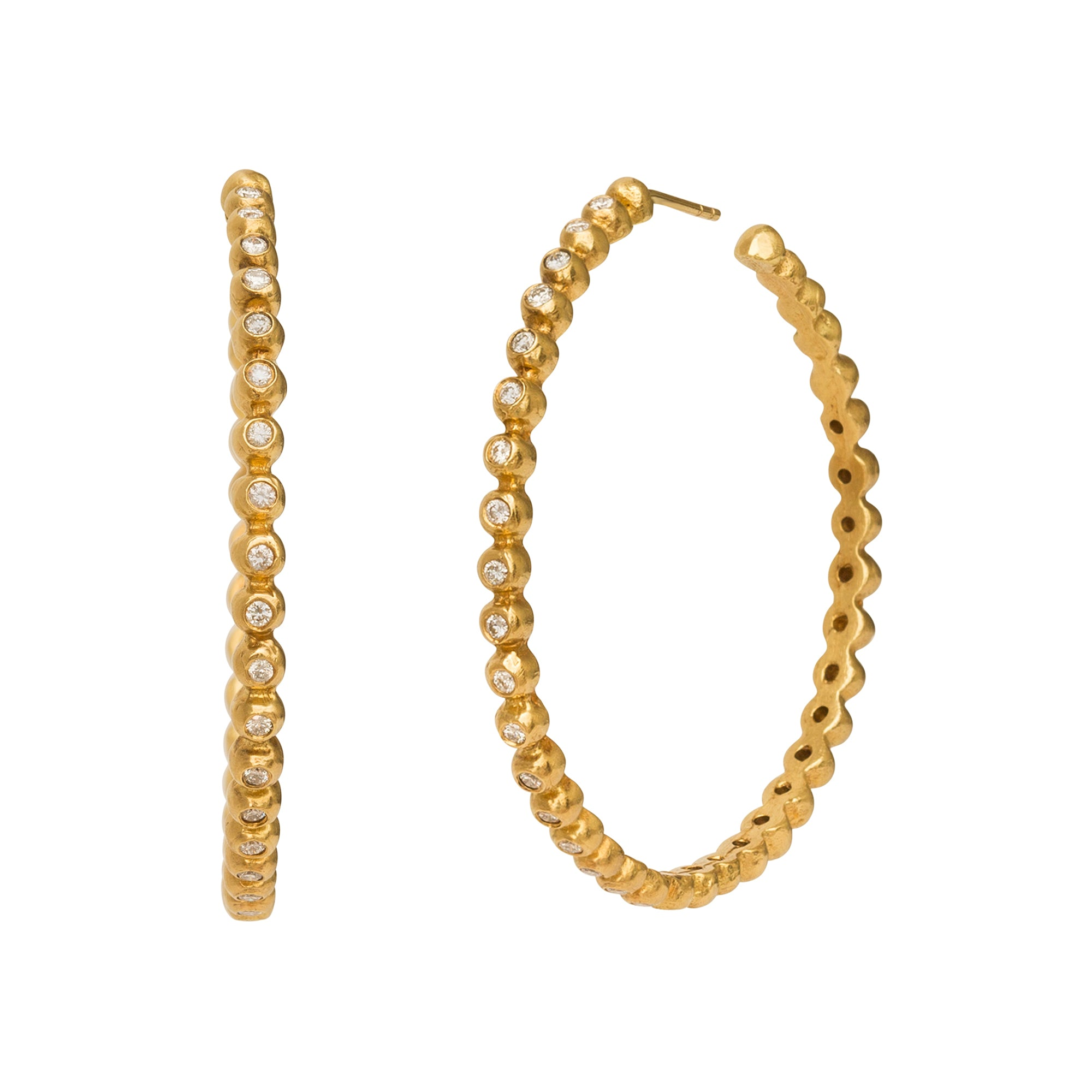 Gold Diamond Hoops by Broken English Jewelry