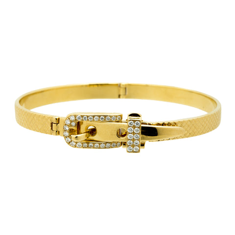 Gold White Diamond Belt Bracelet by Vram for Broken English Jewelry