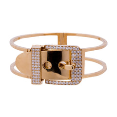Gold White Diamond Double Banded Belt Bracelet by Vram for Broken English Jewelry
