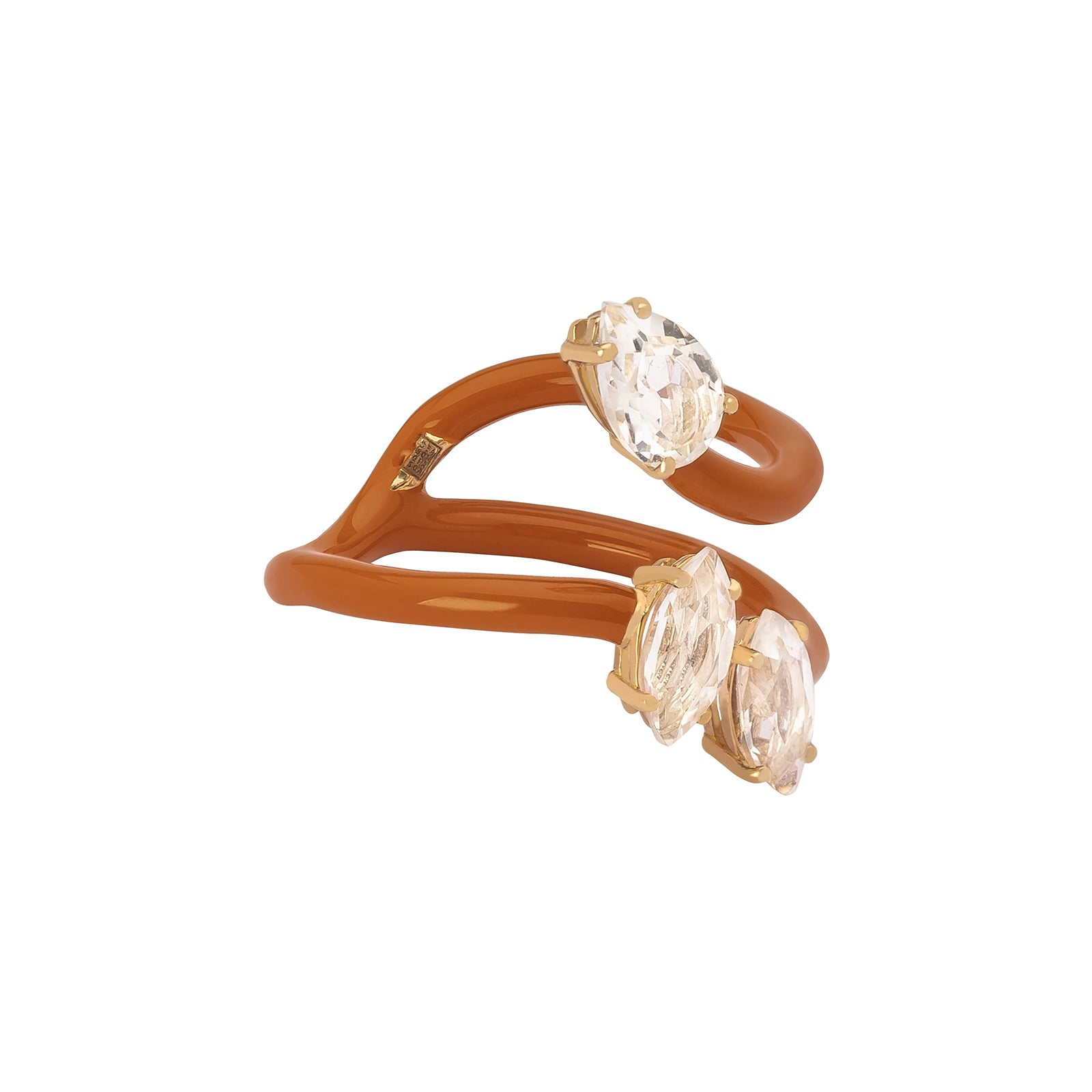 Bea Bongiasca Composable Vine Ring - Orange Enamel - Rings - Broken English Jewelry