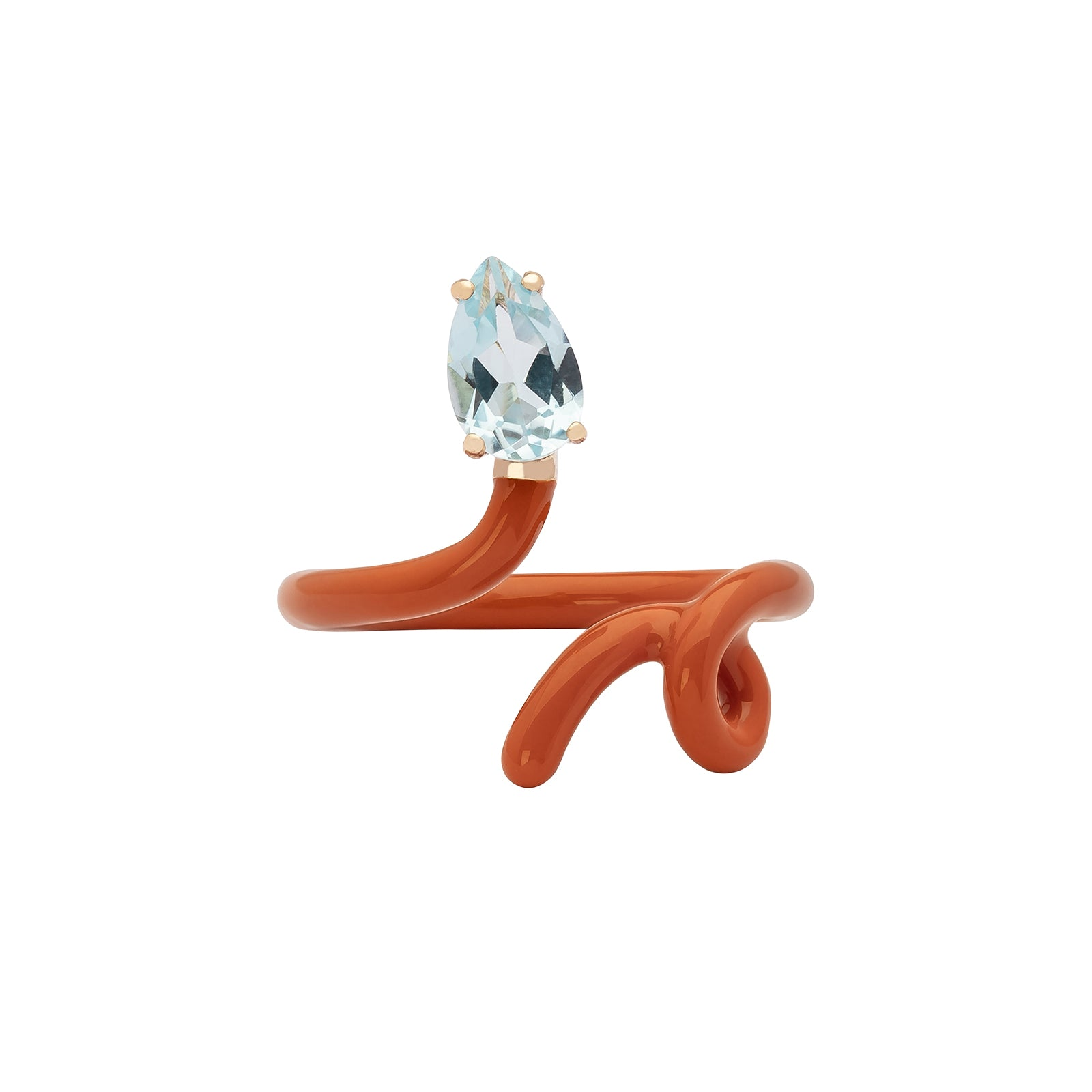 Bea Bongiasca Baby Vine Tendril Ring - Burnt Orange Enamel - Rings - Broken English Jewelry