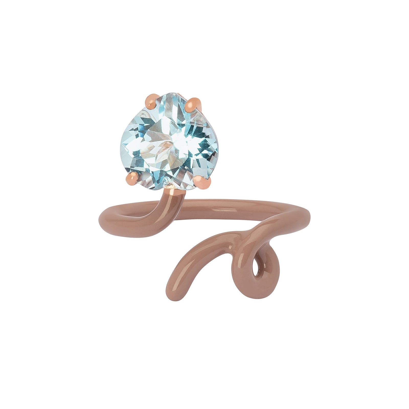 Bea Bongiasca Heart Tendril Ring - Taupe Enamel - Rings - Broken English Jewelry