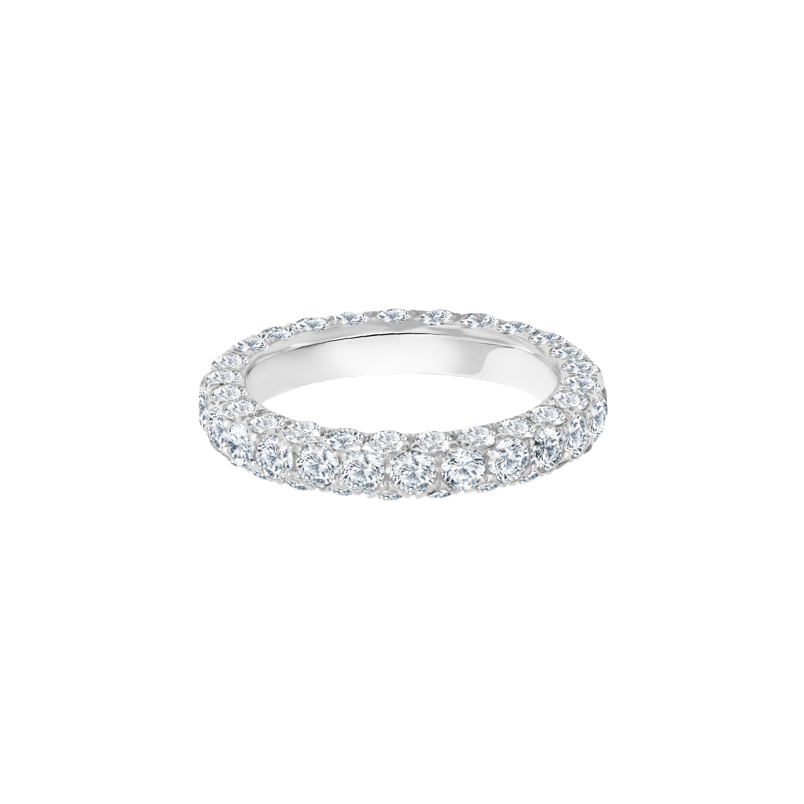 Graziela Triple Sided Diamond Band Ring - White Gold - Rings - Broken English Jewelry