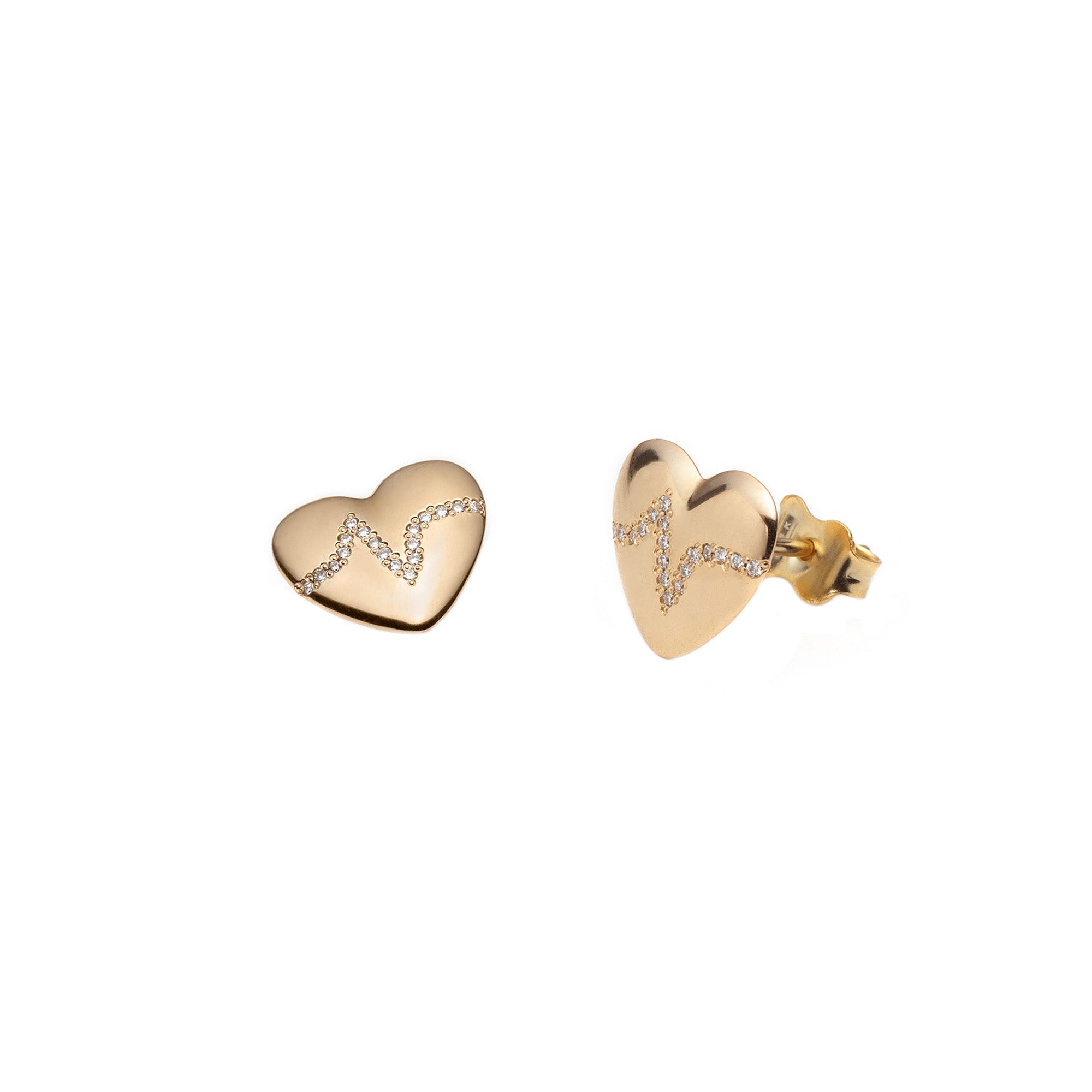 Heartbeat Studs by With Love Darling for Broken English Jewelry
